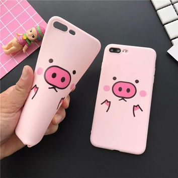 for Girls Baby Skin Feel Soft Silicone Pink Fundas Coque Phone Cases for iPhone 8 6 6S 7 Plus X Case Pig Middle Finger Cat Cover