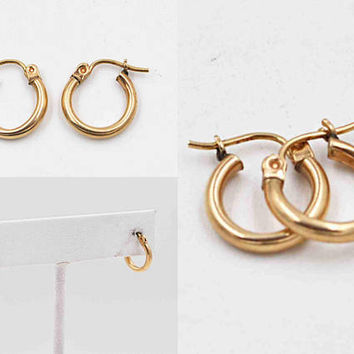 Vintage 14K Yellow Gold Hoop Pierced Earrings, Smooth Gold, Classic Gold Hoops, Latch Back, 1/2 Inch, Lovely! #c292