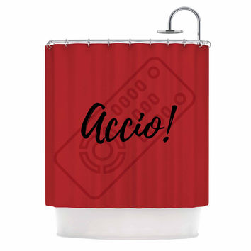 "Jackie Rose ""Accio! Remote"" Red Illustration Shower Curtain"