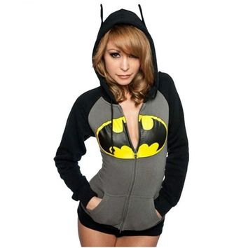 Cool Women Batman Print Hoodies Sweatshirts Female Hooded Zipper Pocket Outerwear Girls Tops Long Sleeve Jacket Sweatshirts