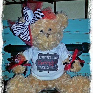Good Luck Cheer Personalized Blingy Cheer or Pom Bear