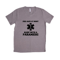Feel Safe At Night Sleep With A Paramedic Doctor Doctors Hospital Medical Medicine Hospital Nurse Nurses Nursing SGAL7 Unisex V Neck Shirt
