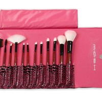 MASH 12pc Studio Pro Makeup Make Up Cosmetic Brush Set Kit w/ Leather Case - For Eye Shadow, Blush, Concealer, Etc (Pink)
