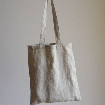 Tote Linen Bag in Melange Linen / School bag / Linen Shoulder Hand Bag / Linen Shopping Bag / Shopper