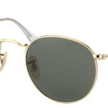 Kalete Authentic Ray Ban RB 3447 Round Metal 001 Arista Gold Vintage Sunglasses 47mm