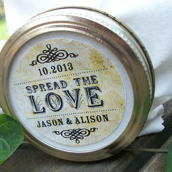Vintage Spread the Love Custom Canning jar labels, personalized round stickers for wedding favors, jam and jelly