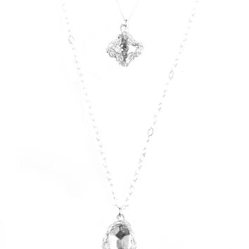 Silver Hamsa and Cross Layering Necklace, Swarovski pendants , Can be worn separately