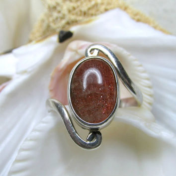 Sterling Silver Oregon Sunstone Bypass Ring Cabachon SZ 8