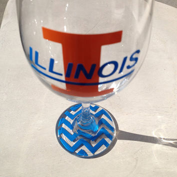 Illinois Illini inspired wine glass with chevron bottoms wine glass beer glass university of Illinois