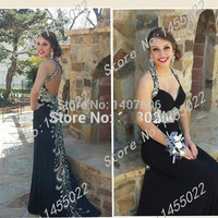 Black Mermaid Prom Dresses With Rhinestone Halter Red Formal Evening Gown Chiffon Beaded Long Backless Abendkleider Crystal 2015