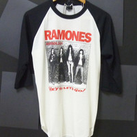 Anthology the Ramones punk rock band singer 3/4 sleeve baseball shirt OFF WHITE TEE size M Unisex,women,men by Cute classic shop