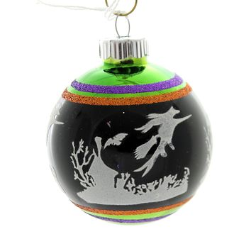 Shiny Brite HALLOWEEN SIGNATURE FLOCKED. Glass Ball Ornament 4026973S F