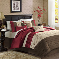Madison Park MP10-307 Serene Red Seven-Piece Queen Comforter Set