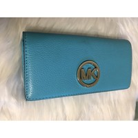 Michael Kors Navy Bright Blue Leather Wallet Authentic Large Checkbook Smokefree