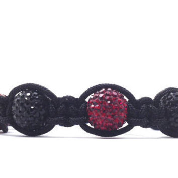 Macrame Bracelet Red and Black Beaded by GirlBurkeStudios on Etsy