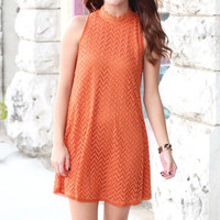 Hi Neck Chevron Lace Dress {Rust}