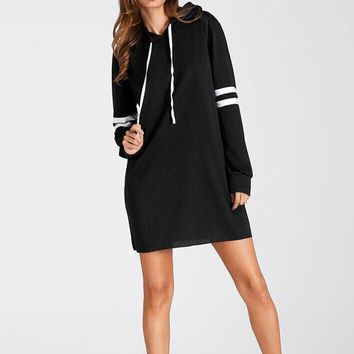 Women Fashion New Long Sleeve Hoodie Long Sweatshirt Jumper Pullover Dress