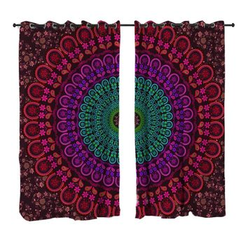 Mandala Living Room Curtains Bohemian Boho Bedroom Curtain Window Treatment Drapes Purple Home Decoration 1/2pcs