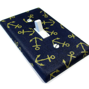 Navy Blue and Gold Tossed Anchors Light Switch Cover Nautical Decor Nautical Nursery Bedroom Decoration Switch Plate 1567