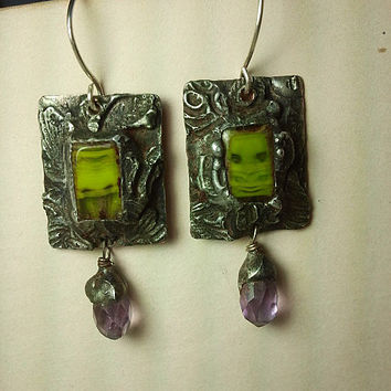 Earrings - Amethyst & Czech Glass -Timeless Relics Collection one-of-a-kind