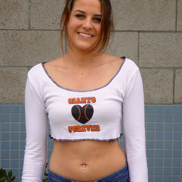 Giants Forever White Long Sleeve Crop Top