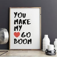 "Love poster ""You make my heart go book"" Gift idea Typographic print Romantic poster For couples Love quote Love gift"