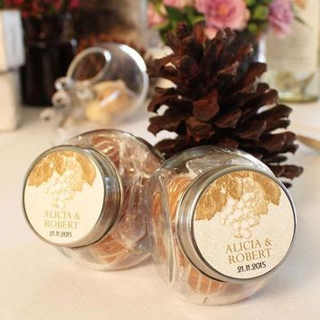 Small Glass Candy Jar with Lid Wedding Favor (Pack of 12)