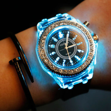 New Arrival Gift Trendy Great Deal Awesome Noctilucent Lightning Rhinestone Korean Stylish Fashion Couple Watch