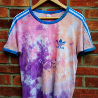 Cryptic Cult — vintage tie dye ADIDAS originals trefoil stripe t shirt