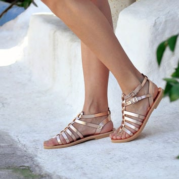 KLEOPATRA, Sandals, Leather sandals, Gladiator sandals in rose gold leather, Greek sandals