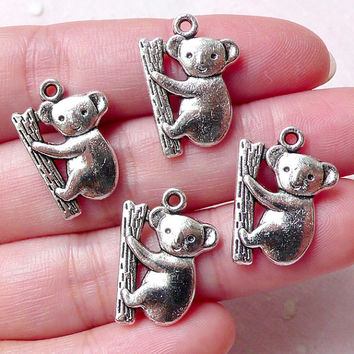 Koala Charms (4pcs / 14mm x 19mm / Tibetan Silver) Australia Animal Bear Cute Bracelet Necklace Bangle Anklet Dust Plug Charm CHM1291