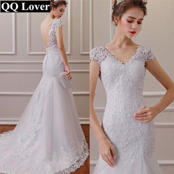QQ Lover 2018 Vestido de noiva White Backless Lace Mermaid Wedding Dresses V-Neck Short Sleeve Wedding Gown Bride Dress