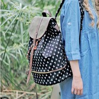 Navy Style Classical Anchor Print Backpack
