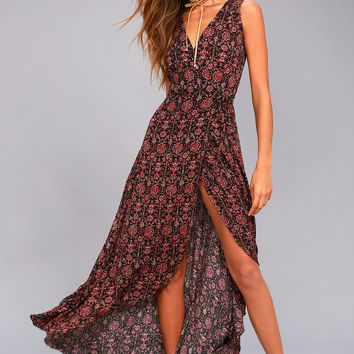 Evening Blossom Black Floral Print High-Low Wrap Dress