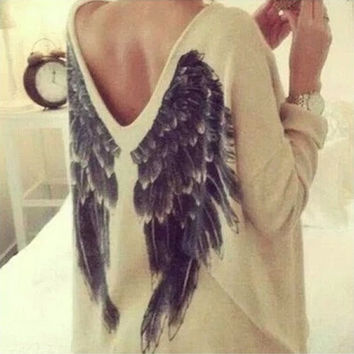 Casual Ladies V-Neck Loose Oversized Angel Wing Blouse Tops Pullover Mini Dress = 1920511748