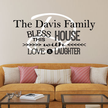 Kitchen Decals - by Decor Designs Decals, Bless This House Wall Decal - Kitchen Vinyl Decal - Bless Our Family Decal - Kitchen Quotes - Vinyl Quote - Sticker - AU7