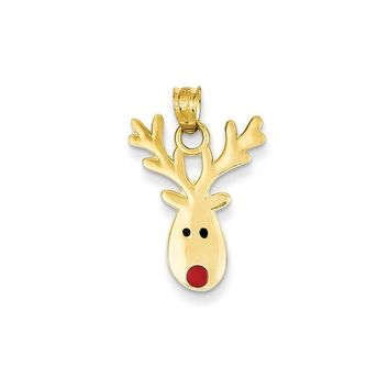 14k Yellow Gold Enameled Reindeer Charm