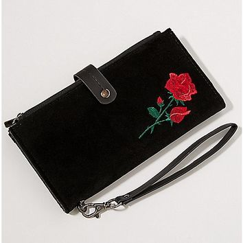 Velvet Embroidered Rose Wallet - Spencer's