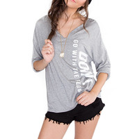 Don't Go With The Flow Top - Grey