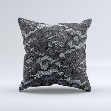 Black Lace Texture Ink-Fuzed Decorative Throw Pillow