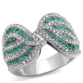 WildKlass Stainless Steel Ring High Polished (no Plating) Women Top Grade Crystal Emerald