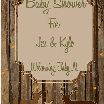 Rustic Country Deer Baby Shower Invitation / DIY Invitation / Printable Invitation