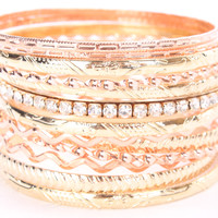 Rose Gold High Polish Bangle Bracelet Set