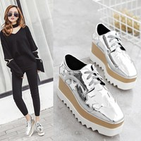 2017 European Gold/Silver Brogue Shoes Woman Brand Stars Bullock Shiny Leather Lady Derby Shoes Creepers Platform Shoes Brogues