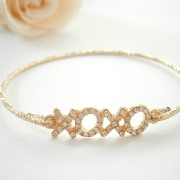 Gold Xoxo Bracelet - Xo Bangle Bracelets - Hugs and kisses -  Rhinestone Jewellery - Sideways Jewelry - Pave Bracelets - Valentines Day gift