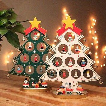 DIY Cartoon Wooden Christmas Tree Decoration Ornament Gift Table Desk Decoration Party Supplies