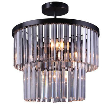 LNC Acrylic Pendant Lights, 2-tier Semi Ceiling Lights for Kitchen Island, Living Room, Dining Room