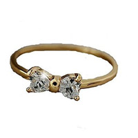 Crystal Shop Gold Plated and CZ Small Bow Ring for Girl or Women
