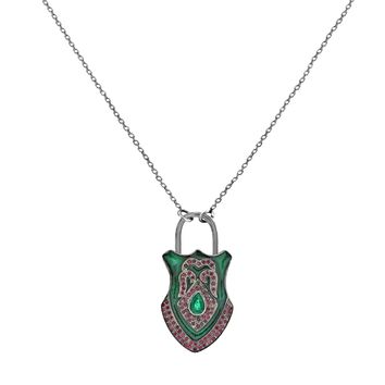 4.02 Emeralds & Ruby in 925 Sterling Silver Medieval Gemstone Padlock Necklace