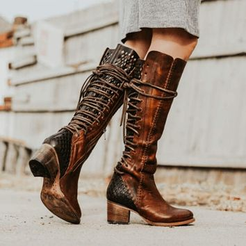 Lace Up Round Toe Block Heel Knee High Boots